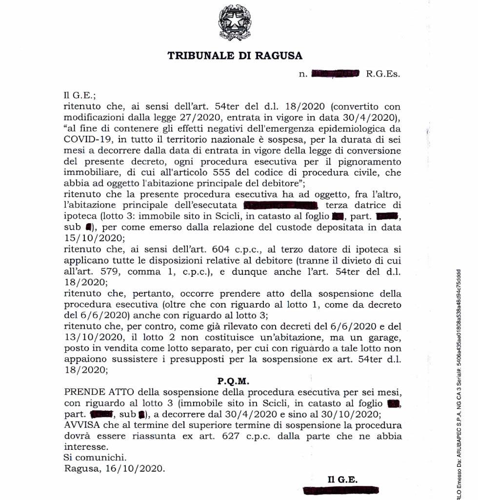 Provvedimento di sospensione del Tribunale di ragusa